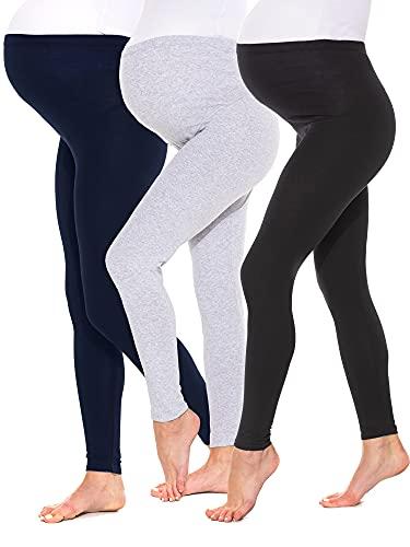 Sibinulo Mujer Leggins Premamá Maternidad Largos algodón Deporte Embarazo Pantalones Embarazadas Ropa Pantalones de Yoga para Embarazadas Negro-Azul-Gris M Lote de 3