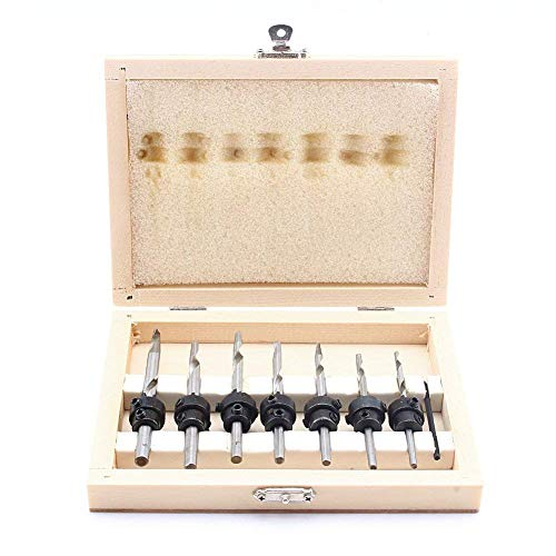 Juego de 7 brocas avellanadas con topes y llave para carpintería y cortador de agujeros