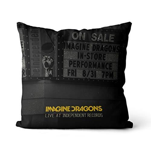 Funda de Almohada Imagine Dragons 45x45cm Adecuada para Cama y sofá, sin Relleno