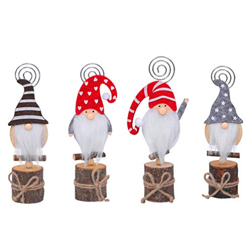 PRETYZOOM 4pcs Christmas Gnomes Place Card Holder Table Number Holders Table Picture Holder for Christmas Party Favors Gifts