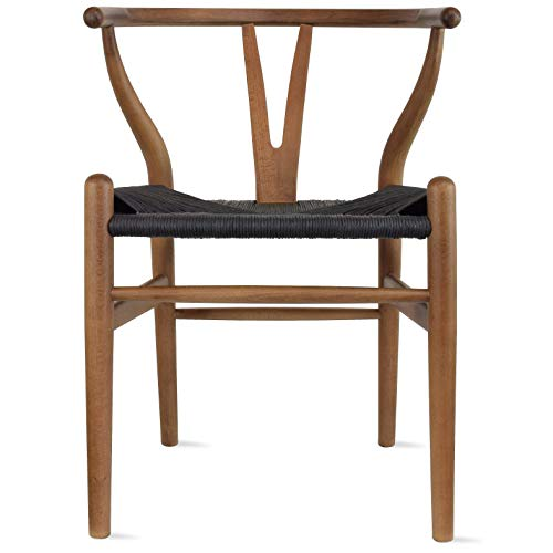 2xhome Espresso Wishbone Wood Armchair with Arms Open Y Back Open Mid Century Modern Contemporary Chair Dining Chairs Woven Black Seat Living Desk