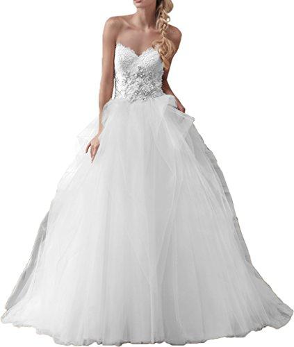 Romantische Braut Edel Duchesse-Linie Herzausschnitt Schleppe Tuell Hochzeitskleid mit Steine Perlenstickerei -52 Weiss