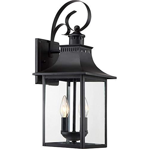 "Quoizel CCR8408K Chancellor Outdoor Lantern Wall Sconce, 2-Light, 120 Watts, Mystic Black (19"" H x 8"" W)"