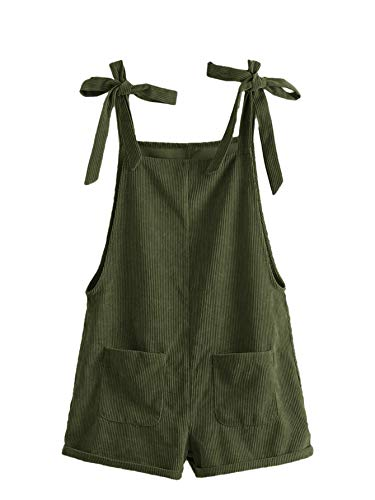 Romwe Women's Corduroy Tie Knot Strap Overall Shorts Pocket Jumpsuit Army Green XL