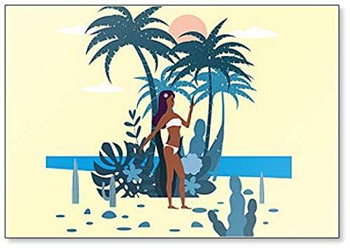 Vrouw Karakter met Smartphone in Bikini en Exotische Planten Koelkast Magneet