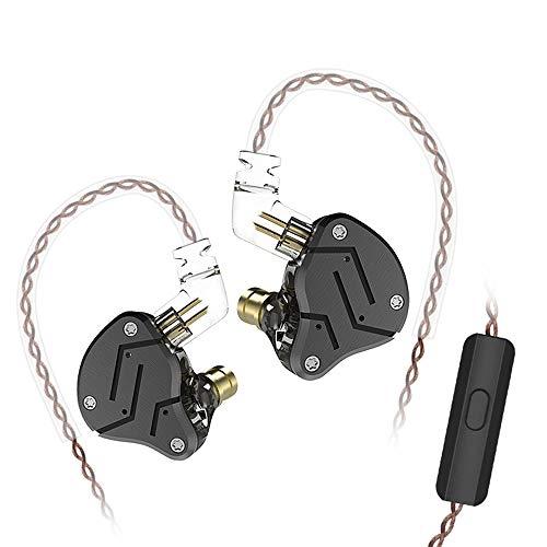 Andoer Fones de ouvido com fio KZ ZSN 3,5 mm com microfone HiFi Music Earbuds de metal 10 mm 1DD + 1BA Dynamic Armature Drivers Sports Headset com cabo de reposição separado do fone de ouvido