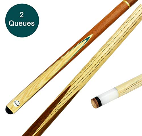 store HD Billard Queues Set 2 x Billard Queue aus edlem Holz 2-teilig - 147 cm langer Billiard Queue - Hochwertiger Billard Kö für Pool, Snooker und Carambolage (2 Stück)