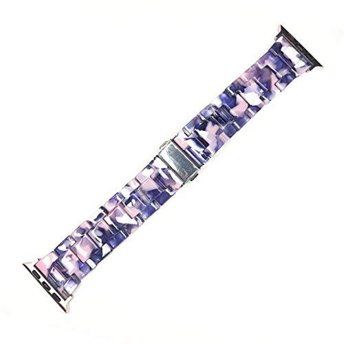 Pulsera de resina para Apple Watch 5 Band 44mm Para Iwatch 42mm Series 5 4 3 2 1 Correa Accesorios de muñeca Bucle 40mm Reemplazo de correa de reloj-Blue Floral, 42mm 44mm