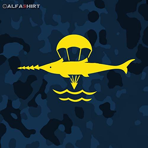 Lucha flotador Bundeswehr Pegatinas Pegatinas Sierra pescado buceo flotador Marino Arma Mina de buceo buceo (Negro, 20x 9cm) # A014