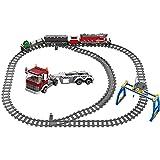 MYRCLMY Tren De La Ciudad Railo Impulsado por El Motor, Tren Electric Track Coche Ladrillos Creador Estación De Tren Técnico Bloques De Construcción Juguetes para Niños 6+ Cumpleaños,Rojo