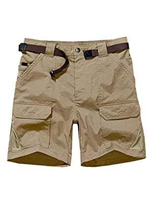 "Jessie Kidden Women's Stretch Cargo Shorts, Quick Dry Elastic Waist 7"" Inseam Casual Shorts for Outdoor Hiking, Camping, Travel (2105 Khaki, 30 (US 8))"