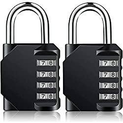 Ultra Security: 4 digit combination padlock offers 10,000 combinations which make it much more security than the typical three digit lock. Made of zinc alloy, so it hard be damaged by human force. Robust & Elegant Design: This padlock made in zinc al...