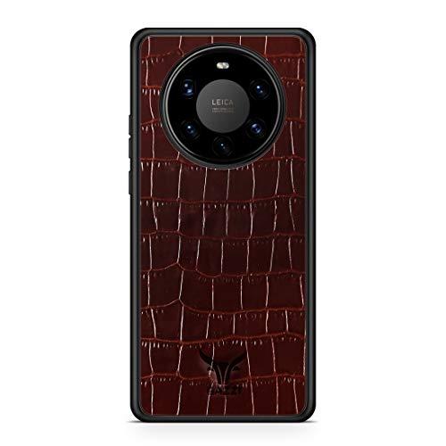 GAZZI Lederhülle für Huawei Mate 40 PRO Hülle Hülle Schale Backcover Handyhülle Schutzhülle Echt Leder, R&umschutz, Flexible Schale (Kroko Braun)