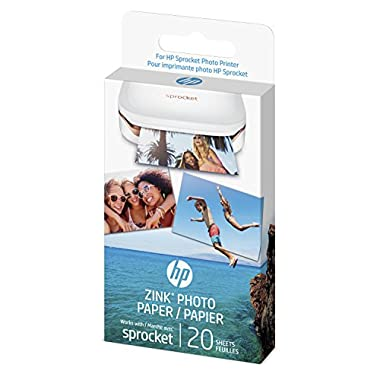 HP 1AH01A  Sprocket Photo Paper, exclusively for Sprocket Portable Photo Printer, (2x3-inch), sticky-backed 20 sheets