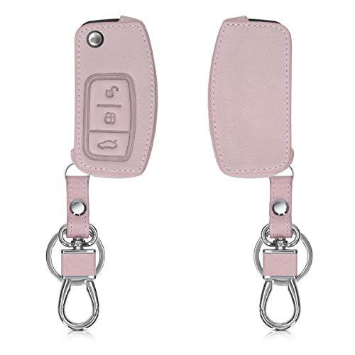 kwmobile Carcasa Compatible con Ford Llave de Coche Plegable de 3 Botones - Funda de Cuero sintético - Case para Mando Control de Auto Oro Rosa