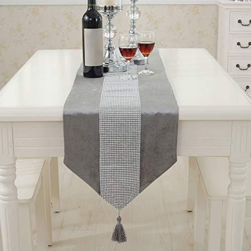 Camino de mesa moderno de Matedepreso - Duradero franela de poliéster con brillantes - Camino de mesa lavable (32 180 cm), color gris, gris, 32 180cm 🔥