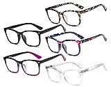 Eyekepper 5-Paia Lettura Occhiali Elegante Occhiali da Vista per Uomini Donne +1.25