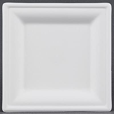 Square Heavy Duty Disposable Plate Compostable made from Sugarcane by Greenplate 50 Count White