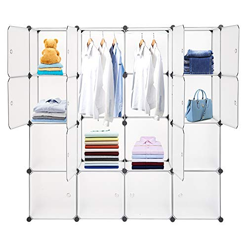16 Compartments with Door Translucent White with 2 Clothes Rails DIY Modular Closet Storage Cabinet Plastic Cabinet Wardrobe with Doors Can Be Used for Clothes, Shoes, Toys, White