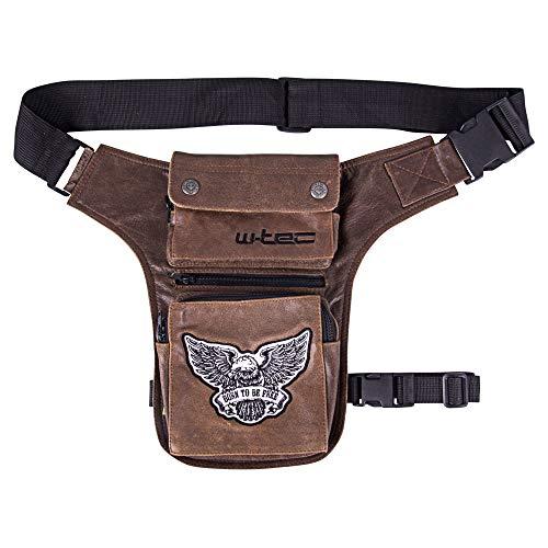 Motorrad-Oberschenkeltasche W-Tec Antique Cracker braun | Rindsleder Biker-Beintasche