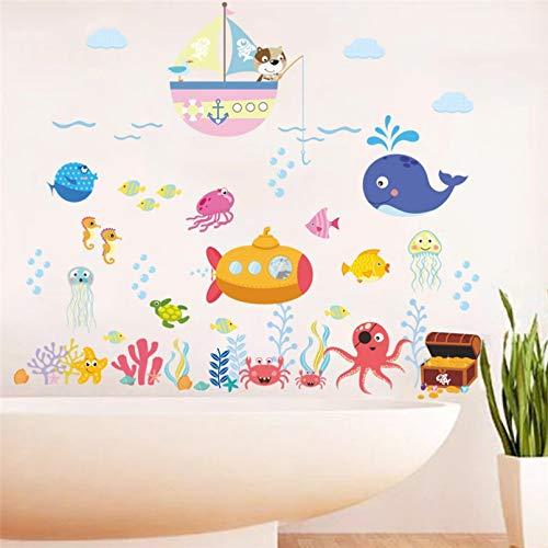 Pez submarino tiburón barco tortuga burbuja pegatina de pared para habitaciones de niños baño sala de estar dormitorio decoración calcomanías de guardería póster