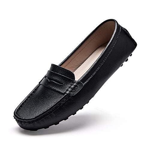 BEAUSEEN Women's Black Penny Loafers Genuine Leather Driving Moccasins Casual Slip on Shoes Size 10.5 BES-2207HEI105