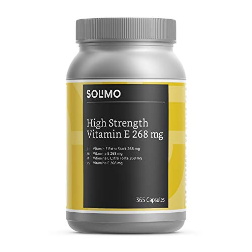 Amazon Brand - Solimo High Strength Vitamin E 268 mg Food Supplement, 365 Capsules