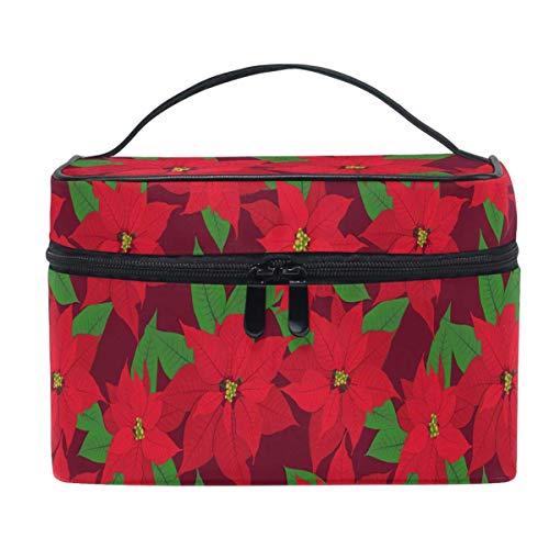 Red Poinsettia Christmas Makeup Bag Xmas Berry Cosmetic Bag Borsa da viaggio per toeletta Organizer portatile con cerniera