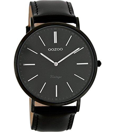 Oozoo Unisex Datum klassisch Quarz Uhr mit Leder Armband C7300