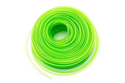 vhbw Mähfaden Trimmerfaden mit 2mm Durchmesser für Rasentrimmer Motorsense - 100 Meter, Grün, Nylon, widerstandsfähig - Rasentrimmerfaden Ersatzfaden