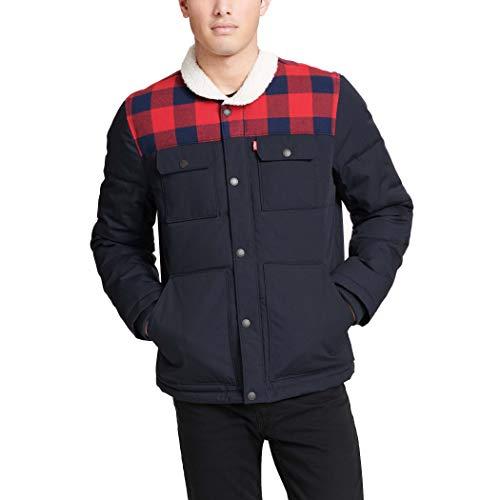 Levi's Men's Quilted Mixed Media Shirttail Work wear Puffer Jacket, Navy/Plaid, Medium