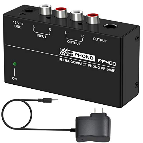 Phono Turntable Preamp - Mini Electronic Audio Stereo Phonograph Preamplifier with RCA Input, RCA/TRS Output,Low Noise Operation,with 12 Volt DC Adapter (PP400)