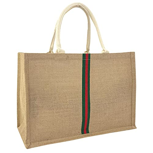 Hibala Woven Large Beach Bag Straw Bag Beach Tote Handmade Weaving Shoulder Bag Tassel Bag Handbag (Green Stripe)