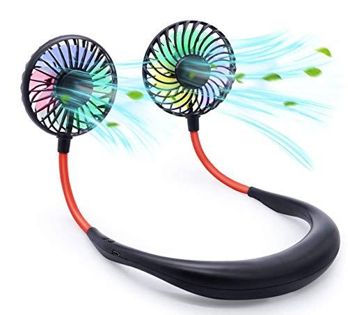 SoulQool Ventilador deportivo, doble ventilador para colgar el cuello, manos libres, mini ventilador USB, portátil recargable, ventilador de escritorio