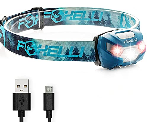 Foxelli USB Rechargeable Headlamp Flashlight - Super Bright & Lightweight Head Lamp, Perfect for Running, Camping & Work, Up to 30 Hours on a Single Charge