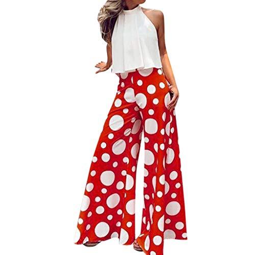 Alangbudu Women Halter Ruffled Hem Pot Dot Sleeveless High Waist Backless Long Wide Leg Loose Swing Jumpsuit Romper Red