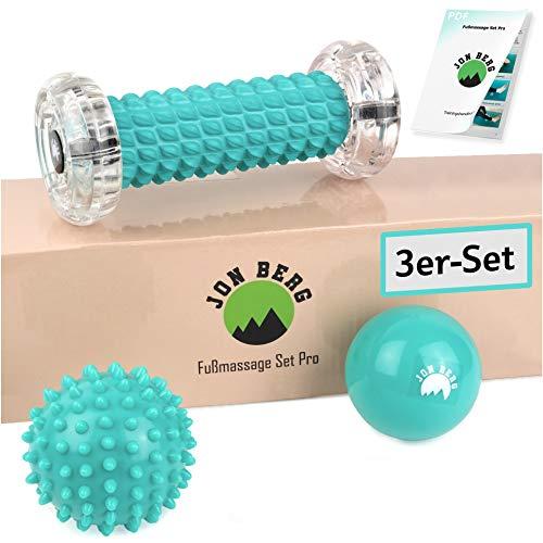 JON BERG Fußmassage Set [3-teilig] - Premium Set bestehend aus Fußmassageroller, Massageball & Igelball - Ideal zur Entspannung und Stressreduzierung