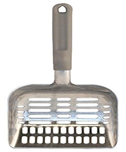 Pet Champion Aluminum Cat Litter Scoop with Ergonomic Handle, Gray