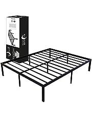 Dreamzie metalowe łóżko 135 x 190 x 36 cm – rama łóżka z metalu 135 x 190 cm, łóżko do materaca, podwójne, wytrzymałe, łatwy montaż, obszerne miejsce do przechowywania – czarny stelaż