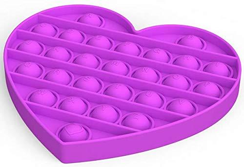 WQFXYZ Pop Push It Bubble Fidget Sensory Toy, a Special Multi Shaped High Grade Soft Silicone Extrusion Toy Suitable for All Ages (Multicolor 4pcs) (4PC-Colors) (Purple Heart 1PCS)