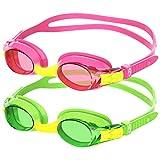 findway Gafas de Natación Niños, 2 Piezas Gafas para Nadar Adecuado...