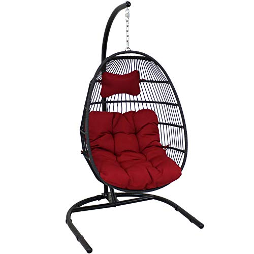 Sunnydaze Julia Hanging Egg Chair with Stand and...