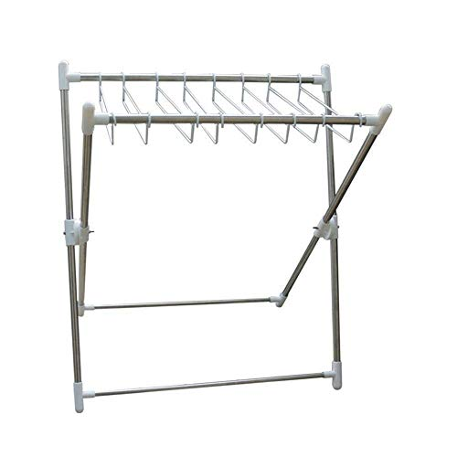MXL Clothes drying rack Folding clothes drying rack Floor-standing X-shaped clothes rail Stainless steel balcony coat rack Single and double folding drying rack for easy storage