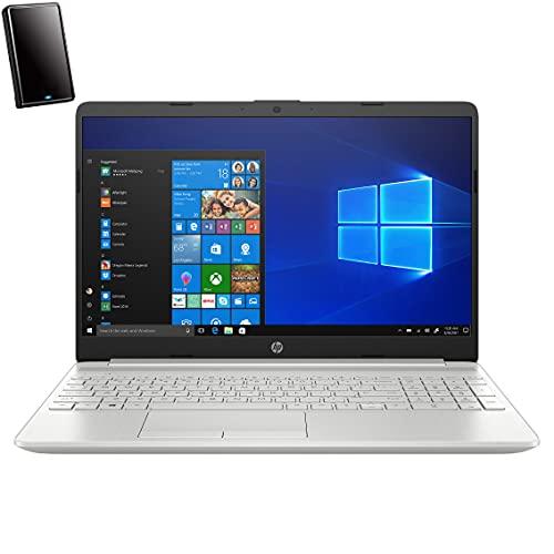 "2021 HP 15 15.6"" Touchscreen Laptop Computer, 11th Gen Intel Quad-Core i5-1135G7 up to 4.2GHz (Beat i7-8569U), 12GB DDR4 RAM, 256GB PCIe SSD + 1TB HDD, Windows 10, iPuzzle 320GB External Hard Drive"