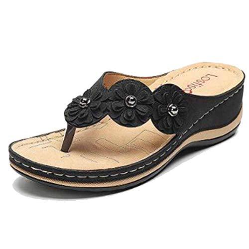 Chanclas con Cuña De Flores para Mujer Zapatos De Verano Casuales con...