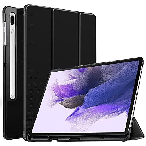 IVSO Funda Compatible con Samsung Galaxy Tab S7 FE/S7+/S7 Plus, Funda Case Compatible con Samsung Galaxy Tab S7 FE 2021 12.4 Pulgadas SM-T730/T736B&Galaxy Tab S7 Plus 12.4 2020, Negro