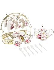 ufengke 15 delar europeiska keramiska tesatser, Kina kaffeset med metallhållare, färgglad ros målning pumpa kaffe tekanna