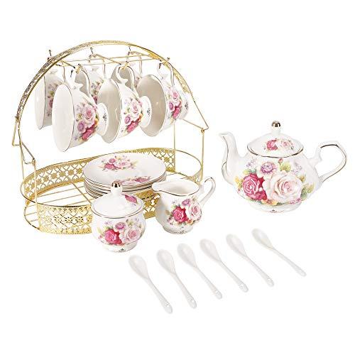 ufengke 15 Stück Europäisches Keramik-Teeservice,Bone China Kaffee Set mit Metallhalter,Bunte Rosen Malerei Kürbis Kaffeekanne Tee-Topf,
