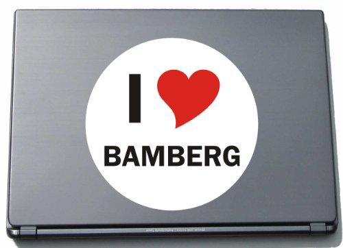 I Love Aufkleber Decal Sticker Laptopaufkleber Laptopskin 297 mm mit Stadtname BAMBERG