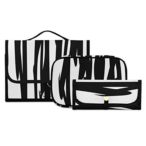 Bolsa de Maquillaje de 3 Piezas Bolsa de Aseo Bolsa de Cepillo Bolsa de cosméticos portátil Organizador de Viaje Bolsa de Lavado Resistente al Agua para Mujeres, niñas, Hombres, señoras, traducción d